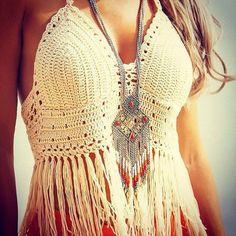 ➳➳➳☮American Hippie Bohemian Boho Bohéme Feathers Gypsy Spirit Bizu Baroque Tati Tati Style - Crochet Fringe Halter