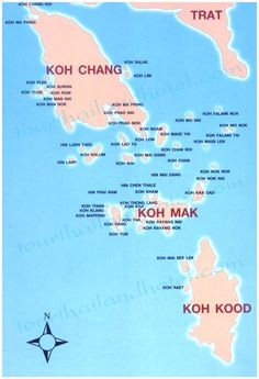 Map of Islands of Thailand bordering to Cambodia: Koh Chang, Koh Mak, and Koh Kut