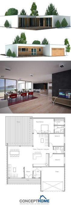 Container House - Plan de Maison Plus - Who Else Wants Simple Step-By-Step Plans To Design And Build A Container Home From Scratch? Contemporary House Plans, Modern House Plans, Small House Plans, Modern House Design, Modern Contemporary, Building A Container Home, Container House Plans, Container Homes, Dream House Plans