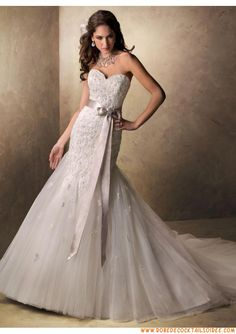 Boutique robe de mariée 2013 A-line blanche avec traîne appliques organza