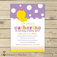 Rubber Ducky Baby Shower Purple, Pink, Yellow and Orange Custom Printable Invitation INVITATION SIZE