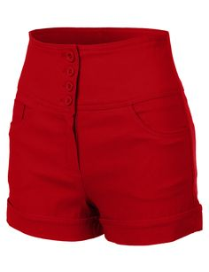 RubyK Womens High Waisted Sailor Shorts with Stretch Red Shorts Outfit, Short Outfits, Cute Outfits, Nautical Shorts, Sailor Shorts, Retro Shorts, Rockabilly Fashion, Shorts With Pockets, Weimar