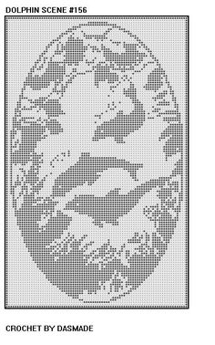 DOLPHIN SCENE FILET CROCHET DOILY AFGHAN PATTERN ITEM 156 via Etsy