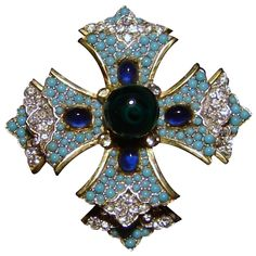 Vintage Mimi Di N Fx Turquoise Rhinestone Cabochon Maltese Cross Brooch Layered Pin