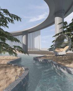 Aesthetic Rooms, Nature Aesthetic, Travel Aesthetic, Blue Aesthetic, Minimalist Architecture, Futuristic Architecture, Architecture Design, Beautiful Architecture, Dream Home Design