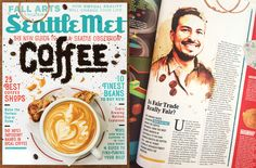 Seattle Met Magazine September Issue 2016. Edwin Martinez watercolor portrait as if it were a coffee stain. Illustration by Luis Tinoco
