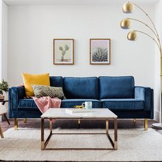 Top 5 Inexpensive Family Room ideas We have the winter blues with the Lexington Velvet Sofa . Blue Velvet Sofa Living Room, Blue Living Room Decor, Ikea Living Room, Design Living Room, Cozy Living Rooms, Bold Living Room, Mid Century Modern Living Room, Living Room Modern, Diy Ikea Hacks