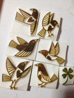 植物と鳥のモチーフでの画像 | ART & CRAFT KOTORIの消しゴムはんこ
