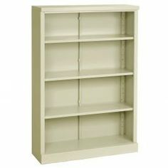 """Steel Bookcase 4 Shelves 34-1/2""""W X 13""""D X 52""""H Easy Assembly Putty by SANDUSKY CABINETS - IL. $165.95. BOLTLESS STEEL BOOKCASES 4 Shelf Bookcase 3 Adjustable Shelves These steel bookcases feature snap-on, tool free assembly that lasts. Boltless bookcases assemble quickly and save on shipping costs. These steel bookcases include 3/4"""" thick steel shelves that adjust height at 1 increments and have 150 lb. shelf capacity. Includes one fixed bottom shelf. Scratch resis..."""