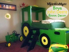 Boys John Deere Room Decor, perfect for your little farmer! She shows you how to paint a John Deere little boy bed! Perfect for Thomas T. John Deere Bedroom, Tractor Bedroom, Little Boy Beds, Kids Bedroom, Bedroom Decor, Bedroom Ideas, Bed Ideas, Bedroom Designs, Do It Yourself Furniture