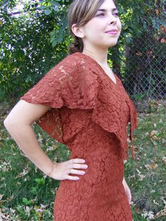 1930s  Lace bias cut Gown /  maxi dress by FrocksnFrillsVintage, $150.00