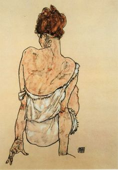 Egon Schiele - Seated Woman, Back View, 1917