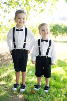 Ring Bearers in Suspenders | photography by http://www.deylahussphotography.com/ | floral design by http://fleurologydesign.com/ | event design by http://aandbstyle.com/