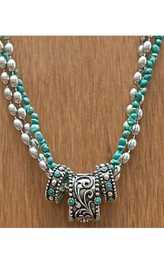 Montana Silversmiths® Antique Silver w/ Turquoise 3 Rings & Strands Necklace | Cavender's Boot City