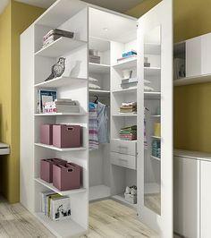 Eck-Kleiderschrank in weiß ähnliche Projekte und Ideen wie im Bild vorgestellt findest du auch in unserem Magazin