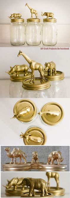 Diy Projects: DIY Gold Animal Jars - could be any favorite embellishment sprayed gold.