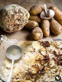 Kuchařka ze Svatojánu: BRAMBORY PEČENÉ S CELEREM Stuffed Mushrooms, Vegetables, Food, Stuff Mushrooms, Essen, Vegetable Recipes, Meals, Yemek, Veggies