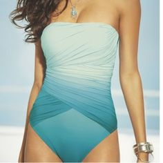 blue and white ombre swimsuit
