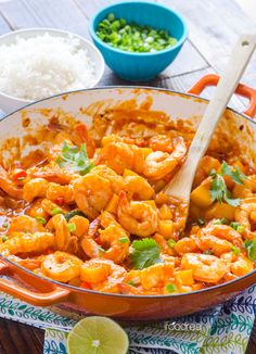 30 Minute Thai Shrimp and Squash Curry -- Healthy and decadent coconut curry that is mild enough for the kids. Very simple ingredients and recipe.