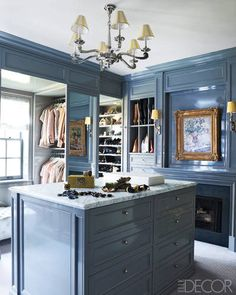 soft blue Celerie Kemble dressing room in Elle Decor // closet style