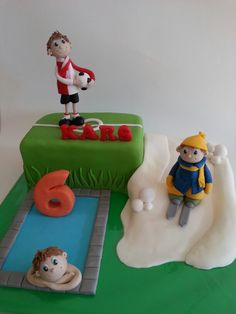 Birthday cake for soccer player, skier, and swimmer