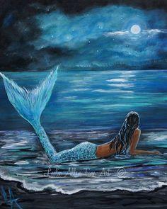 Mermaid ART PRINT Mermaids Woman Ocean  by LeslieAllenFineArt