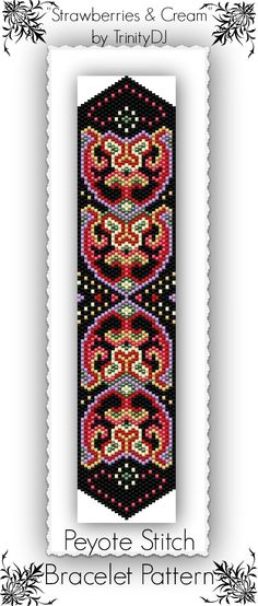 Strawberries & Cream - Odd Count Peyote Stitch Bracelet Pattern.