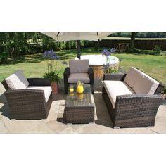 maze rattan 8-sitzer lounge savage teakholz und aluminium esstisch, Gartenarbeit ideen