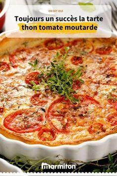 Tarte thon, tomate et moutarde Recipe of the farmer tuna mustard tomato pie, very simple to make and delicious Quiche Recipes, Tart Recipes, Salad Recipes, Cooking Recipes, Healthy Snacks, Healthy Recipes, Simple Recipes, Entrees, Breakfast Recipes