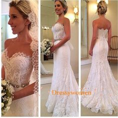 A-line Sweetheart Elegant Style Vintage Lace Wedding Dresses with Beading