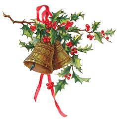 Antique Images: Christmas Holly Gold Bells Printable Clip Art