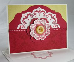 handmade card ... Daydream Medallions & Floral Frames ... pretty in red ... Stampin' Up!