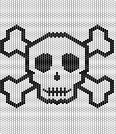 A large Jolly Roger peyote stitch design.  Free at BellaOnline by Shala Kerrigan.