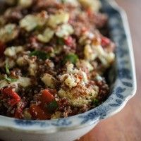 Caramelized Cauliflower, Roasted Red Pepper, and Quinoa Salad  -sub agave for the honey