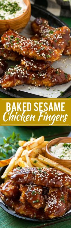 Baked Sesame Chicken Fingers with Fries - Tossed in an asian style honey, soy and sesame sauce and are served with oven roasted fries and a creamy sesame dip.