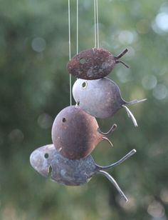 Rustic Spoon Fish Wind Chimes. Great idea seen at http://www.etsy.com/shop/nevastarr?