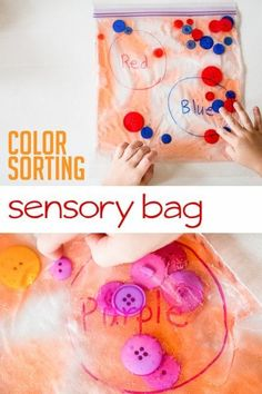 A color sorting sensory bag - great for color recognition and fine motor!