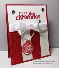 Cattail Designs: 10 Days of Christmas Day 3, Glitter Stampin Up, Christmas Card, Glimmer Paper.