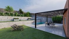 Diseño 3D Diseño de jardin grande Pergola jardin mobiliario de exterior pergola de metal pergola con toldo exteriorismo diseño de exteriores Barcelona, Patio, Outdoor Decor, Home Decor, Astroturf, Exterior Design, Landscaping, Decoration Home, Room Decor
