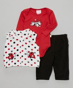 Love this Red Polka Dot & Butterflies Three-Piece Bodysuit Set - Infant by Duck Duck Goose on #zulily! #zulilyfinds