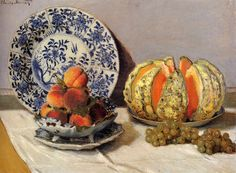 off Hand made oil painting reproduction of Still Life With Melon, one of the most famous paintings by Claude Oscar Monet. Claude Oscar Monet painted Still Life With Melon in The artist and his wife had just come back to France a yea. Pierre Auguste Renoir, Edouard Manet, Claude Monet, Monet Paintings, Impressionist Paintings, Amazing Paintings, Flower Paintings, Paul Gauguin, Edgar Degas