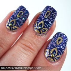 Base color Glam Polish Whirlwind - stamped the pattern from MoYou plate Kaleidoscope 10 using Sally Hansen Insta-Dri Grape Escape. After the stamping, I used a small detail brush and Glam Polish You and Me (But Mostly Me) to add the gold detailing.