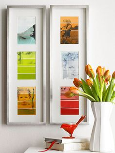 DIY: Print b/w photos on oversized ombre paint chips to turn them into art. Love!