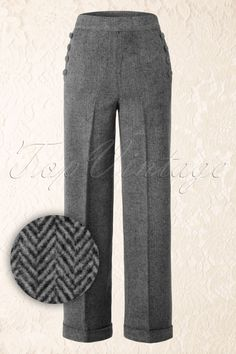 Banned Talk a Walk Trousers Brown 131 70 16395 20150904 Vintage Wool, Retro Vintage, 40s Mode, Grey Trousers, Zig Zag Pattern, Wool Pants, How To Look Classy, Black Blouse, Looking For Women