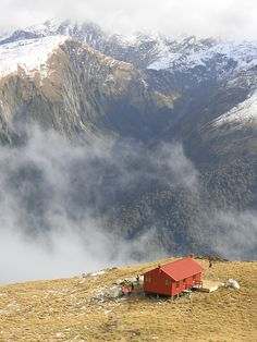 Brewster Hut in the Haast Pass on the South Island...