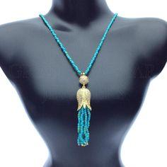 Long Beaded Gemstone Tassel Necklace Trendy Modern Motif Designer Turkish Jewelry Handmade by Jewelers & Artisans of the  Grand Bazaar in Istanbul Turkey GBJ1455 shop online GrandBazaarJewelers.com