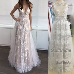 2017 Newest Gorgeous V-neck Lace Tulle Long A-line Cheap Prom Dresses, PD0259