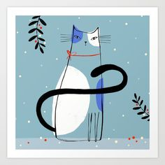 Buy HOLIDAY CAT Art Print by terryrunyan. Worldwide shipping available at Society6.com. Just one of millions of high quality products available.
