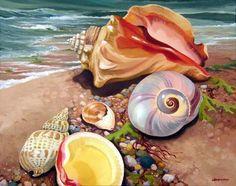 Reofrey Diamond Painting Kit Seashells and Beaches in Summer Full Drill for Adults, Paint with Diamonds Art Rhinestone Embroidery Cross Stitch Craft Decor cm/ inch) Seashell Painting, Artist Painting, Fish Art, Ocean Painting, Sea Shells, Art, Seascape, Beach Art, Sea Art