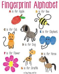 This would be a fun book to work on as children learn the alphabet! Fingerprint Alphabet Art - Easy Peasy and Fun Alphabet Crafts, Alphabet Art, Learning The Alphabet, Letter A Crafts, Alphabet Games, Toddler Alphabet, Alphabet Drawing, Preschool Crafts, Crafts For Kids